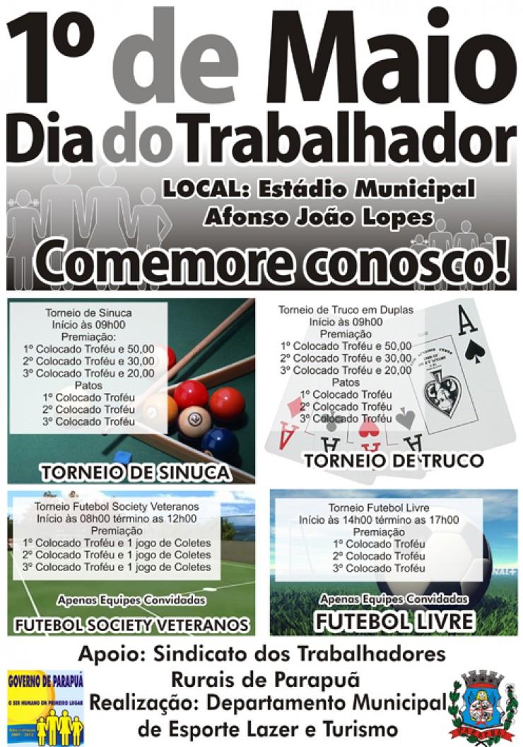 74538b801f90 No dia 01 de maio domingo será realizado torneios de truco, sinuca e  futebol society, as inscrições serão realizadas no Departamento Municipal  de Esporte ...