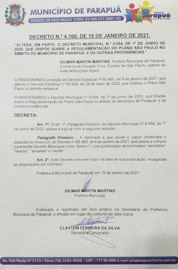 DECRETO N.º 4.100, DE 18 DE JANEIRO DE 2021.