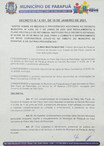 DECRETO N.º 4.101, DE 18 DE JANEIRO DE 2021.