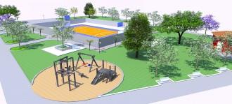 Projeto 3D Construção de Centro de Lazer com quadra aberta no Jardim Sol Nascente