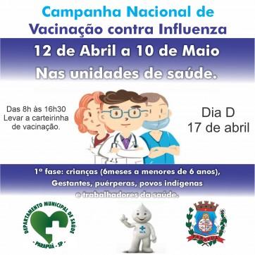 Campanha Nacional de Vacinação contra Influenza - DIA D - 17 de abril