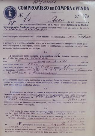 ontrato nº1 de compra e venda do loteamento Canaan 25-05-1937